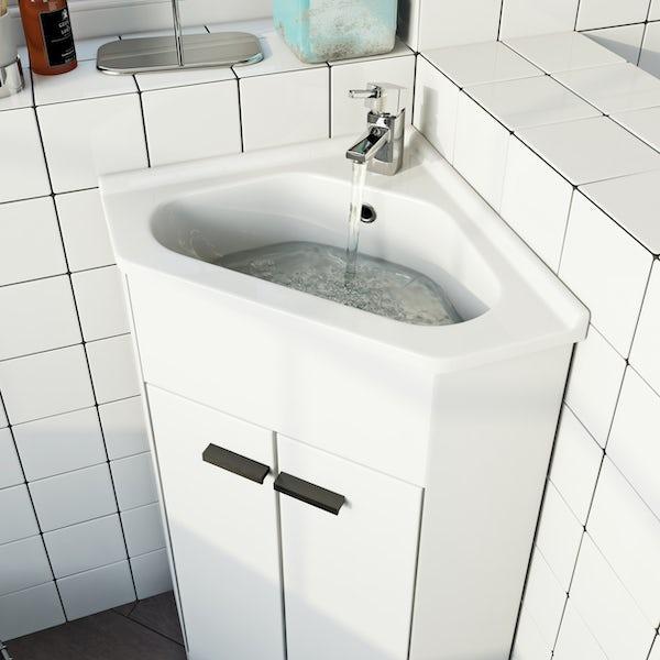 Clarity satin grey floorstanding vanity unit with black handle and ceramic basin 510mm