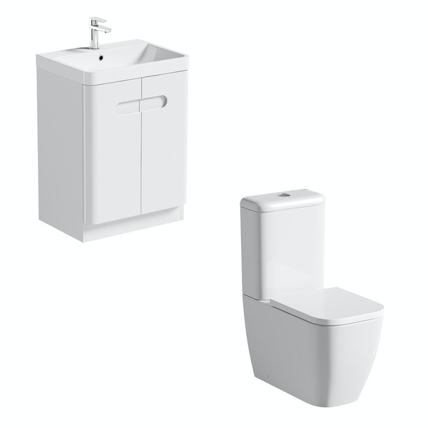 Mode Ellis close coupled toilet and white vanity unit suite 600mm
