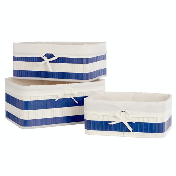 Accents Set of 3 Natural bamboo white and blue nautical storage baskets