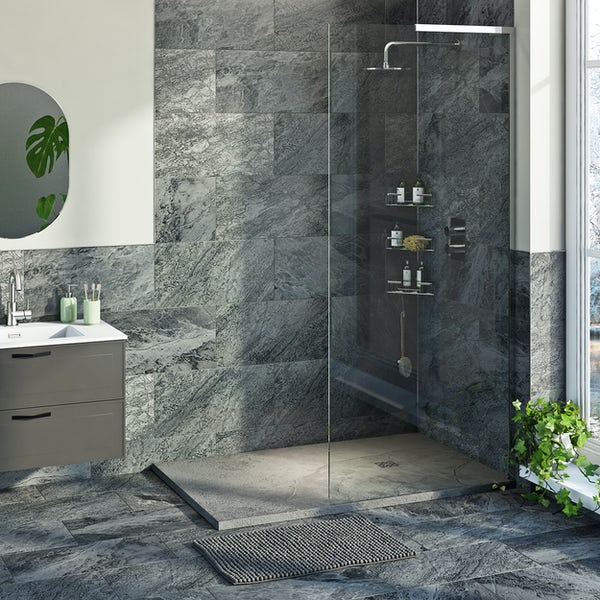 Mode 8mm walk in right handed shower enclosure bundle with grey slate effect shower tray