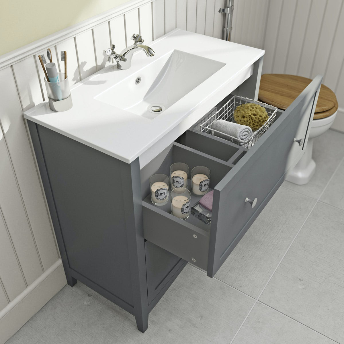 new style 25990 53a4d The Bath Co. Camberley satin grey floorstanding vanity unit and ceramic  basin 800mm