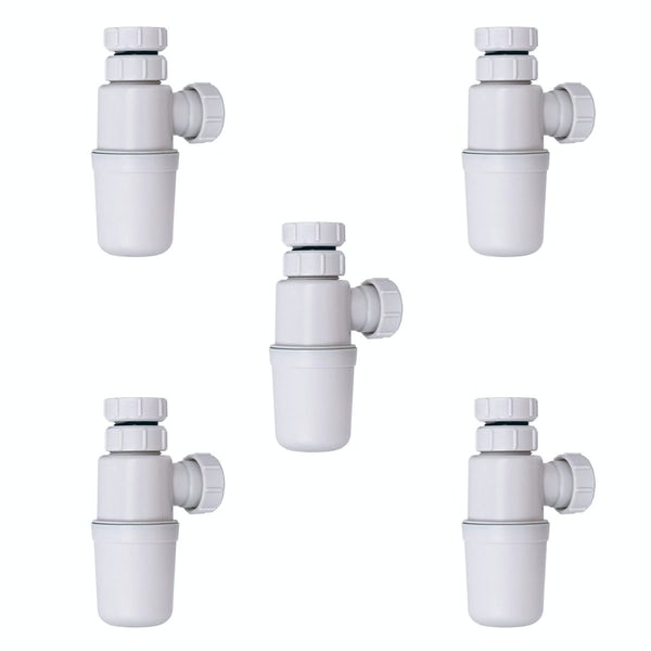 Pack of 5 vanity unit and counter top basin bottle traps