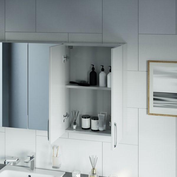 Mode Nouvel gloss white wall hung cabinet 720 x 500mm
