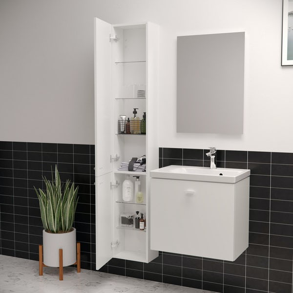 Ideal Standard Concept Space white tall unit with two doors