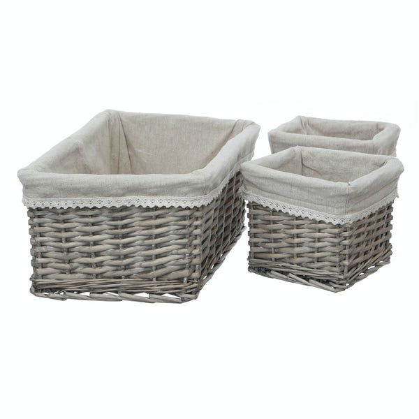 Set of 3 willow baskets with fabric lining