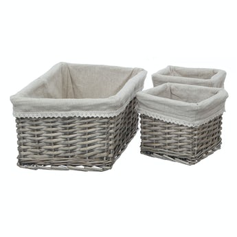 Accents Set of 3 willow baskets with fabric lining