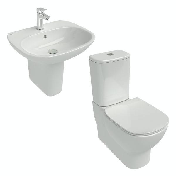 Ideal Standard Tesi Back To Wall Cloakroom Suite With Semi