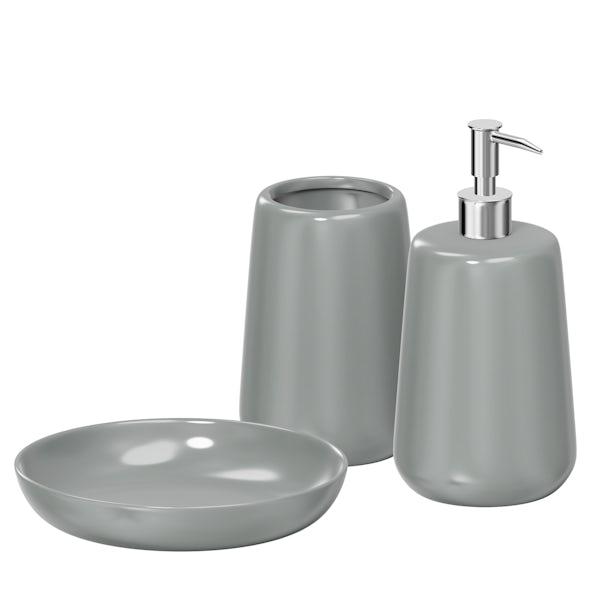 Moon soft grey 3pc bathroom accessory set