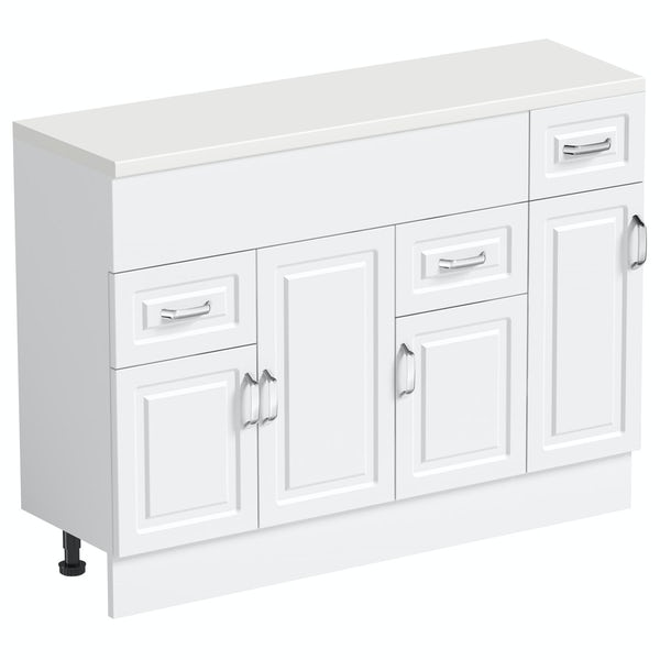 Orchard Florence white 850mm, small storage unit & plinth with white top