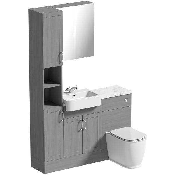 The Bath Co. Newbury dusk grey tall fitted furniture & mirror combination with white marble worktop