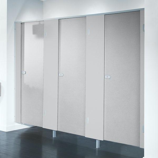 Pendle plain grey toilet cubicle door pack with plain grey pilasters