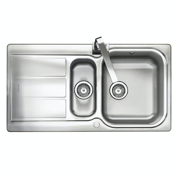 Rangemaster Glendale 1.5 bowl reversible kitchen sink with waste kit