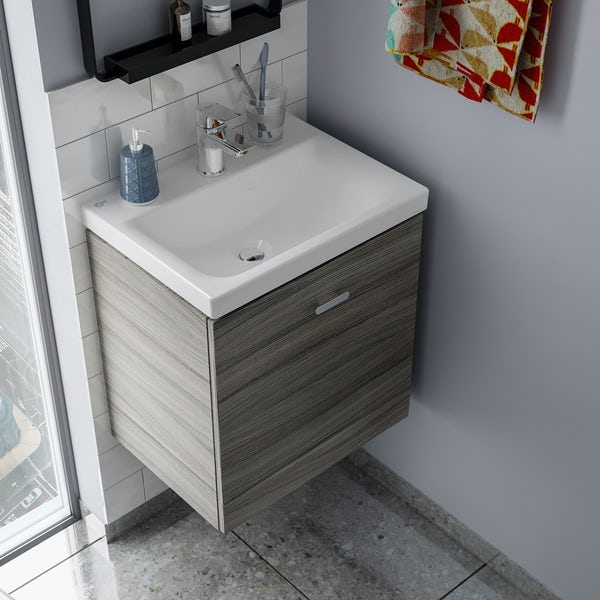 Ideal Standard Concept Space elm wall hung vanity unit with back to wall unit and toilet