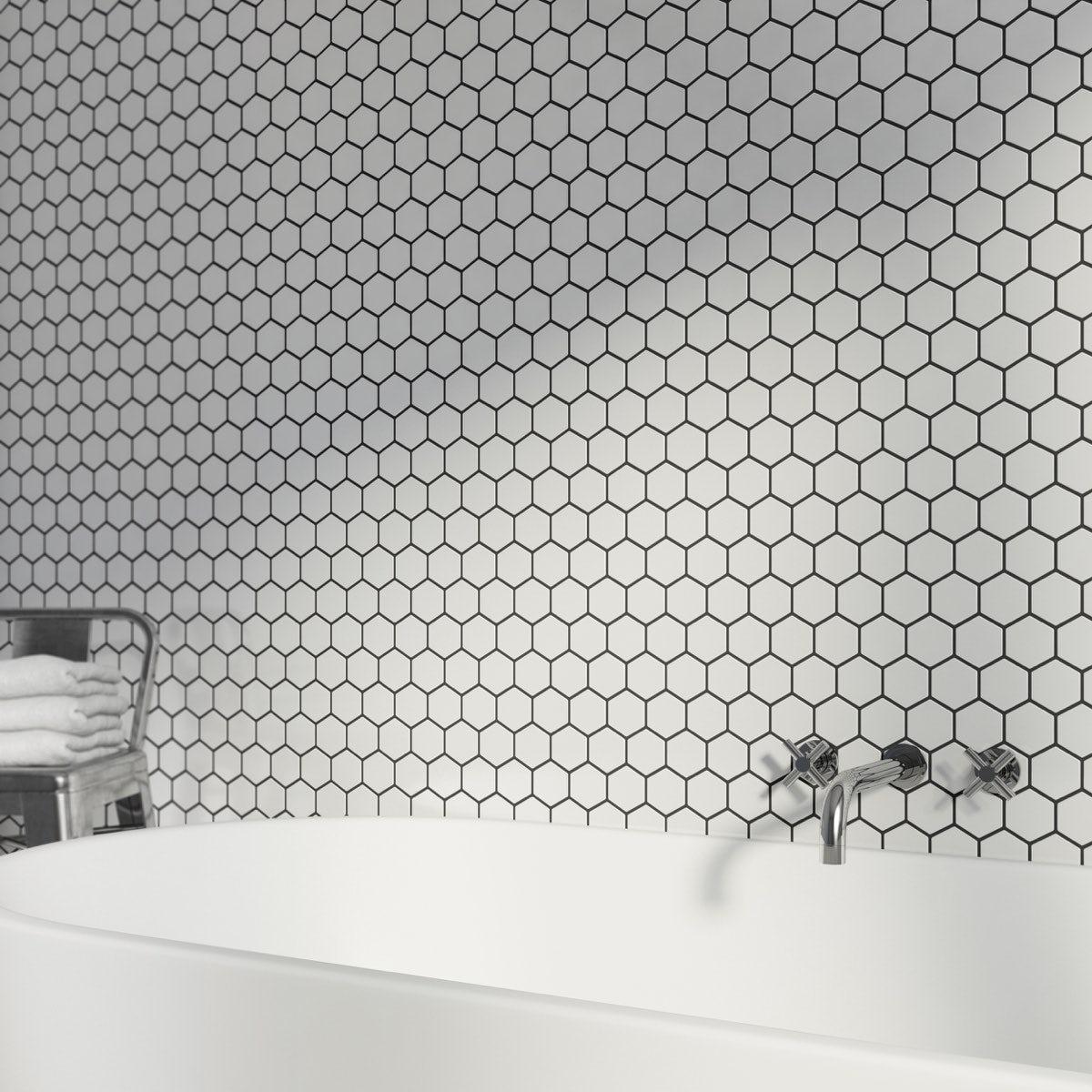 British Ceramic Tile Mosaic Hex White Gloss Tile 300mm X 300mm 1 Sheet