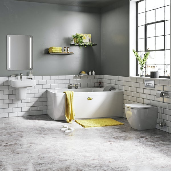 Jacuzzi complete right handed corner bath suite