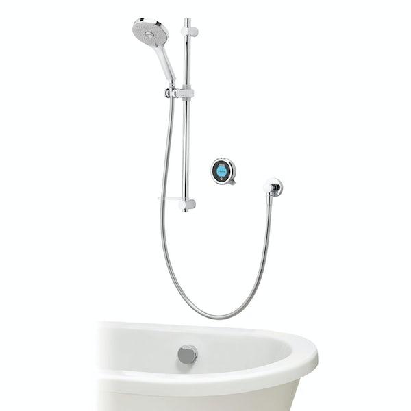 Aqualisa Optic Q Smart consealed shower with adjustable handset and bath overflow filler gravity pumped
