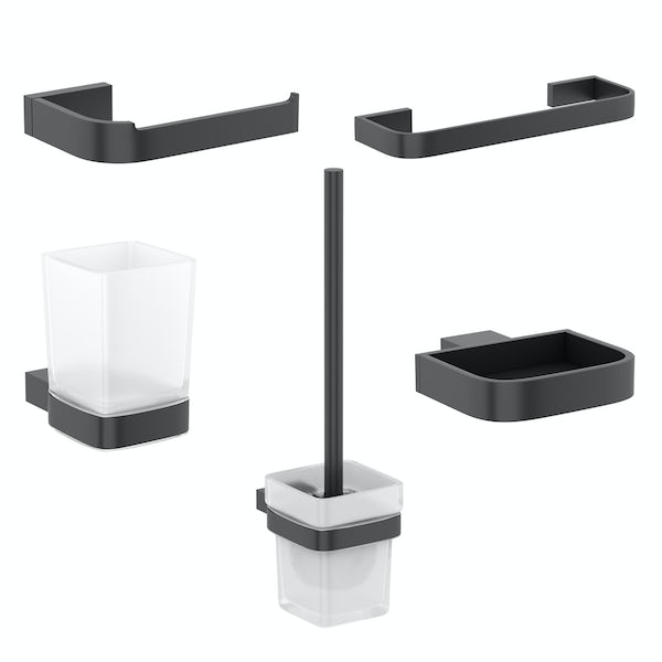 Mode Spencer black ensuite 5 piece accessory set