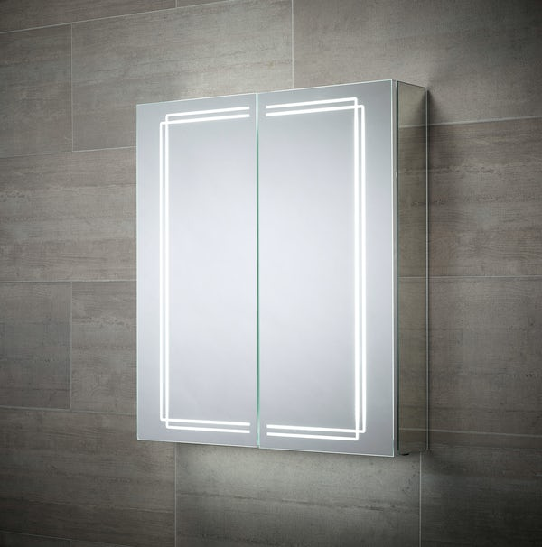 Mode Buxton diffused LED illuminated mirror cabinet 700 x 500mm with demister & charging socket