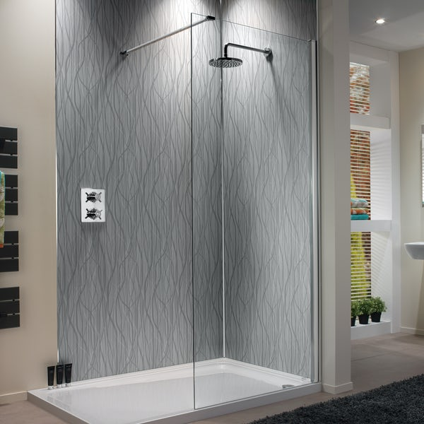 Showerwall Whispering Grass Metallic Grey waterproof proclick shower wall panel