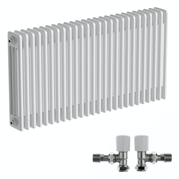 The Bath Co. Camberley white 4 column radiator 600 x 1194 with angled valves