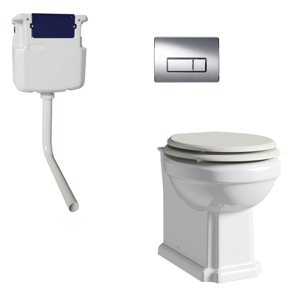 The Bath Co. Dulwich back to wall toilet with ivory soft close seat, concealed cistern and push plate
