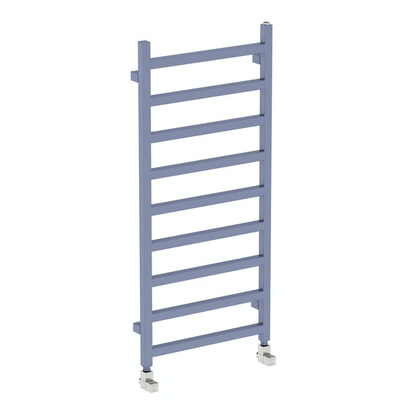 Simple pigeon blue heated towel rail 1080 x 500