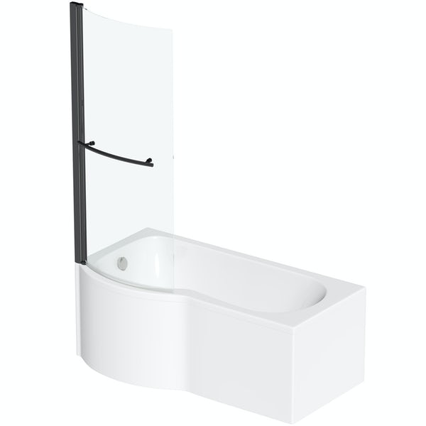 Orchard P shaped left handed shower bath with 6mm matt black shower screen with rail