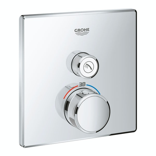 Grohe Grohtherm SmartControl square thermostatic concealed 1 way shower valve trimset