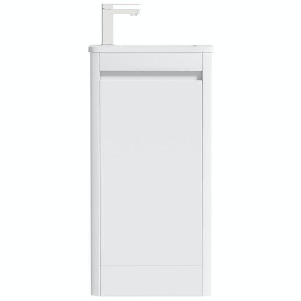 Mode De Gale white cloakroom floorstanding vanity unit and left hand basin 410mm