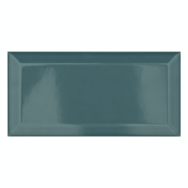 Metro turquoise bevelled gloss wall tile 100mm x 200mm