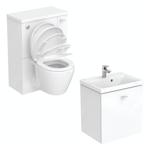 Ideal Standard Concept Space white wall hung vanity unit with back to wall unit and toilet
