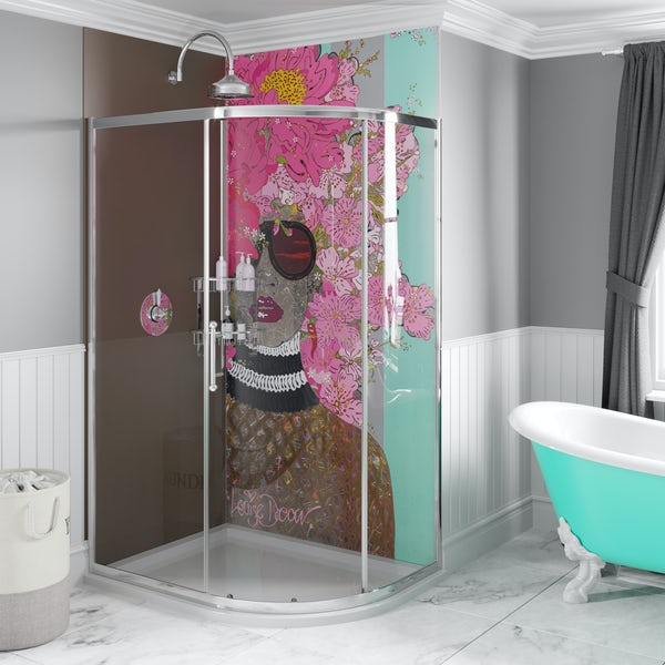 Louise Dear Kiss Kiss Bam Bam Brown acrylic shower wall panel pack with right handed offset quadrant enclosure