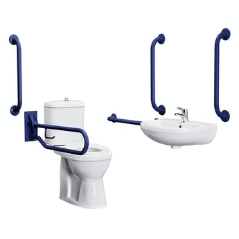 Kirke Curve Doc M toilet and basin pack with blue bars