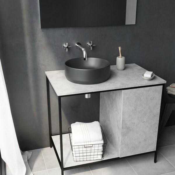 Mode Orion charcoal grey coloured countertop basin 355mm