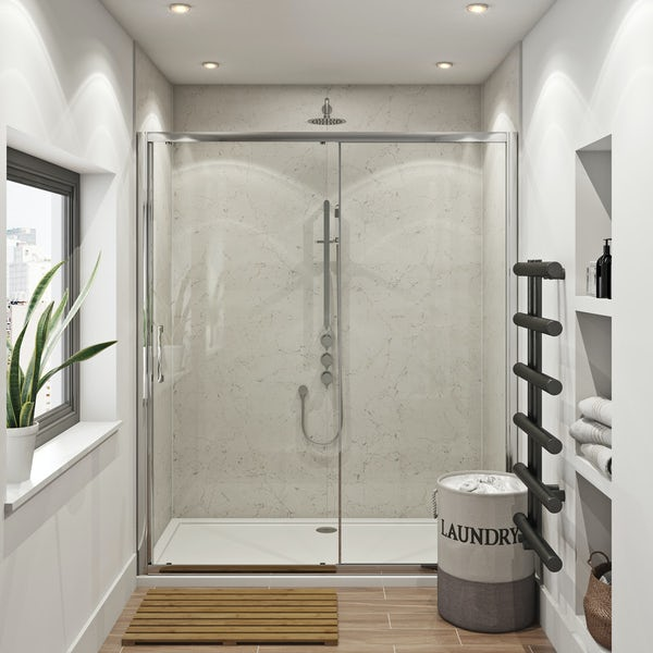 Mode Hardy shower door pack 1700 x 700 with Multipanel Classic Marble shower wall panels