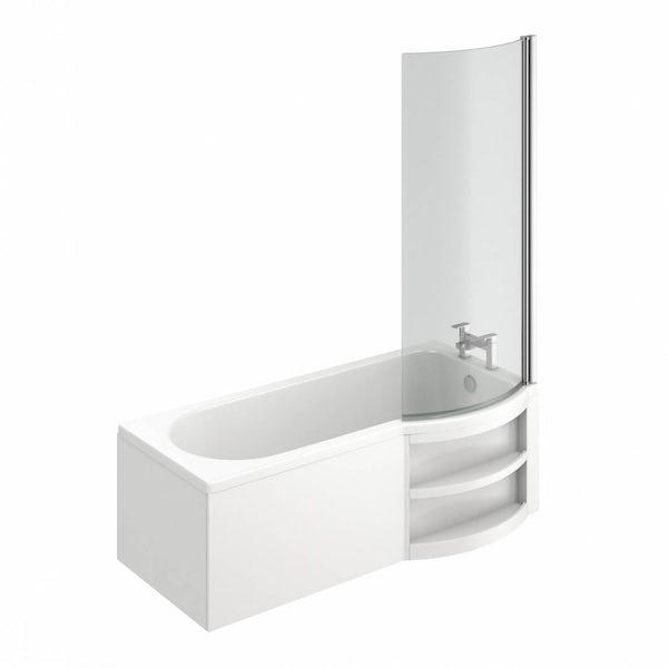 MySpace Water Saving P Shape Shower Bath Right Hand with Storage Panel & 6mm Screen