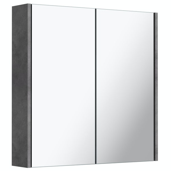 Mode Tate II riven grey mirror cabinet 650 x 650mm