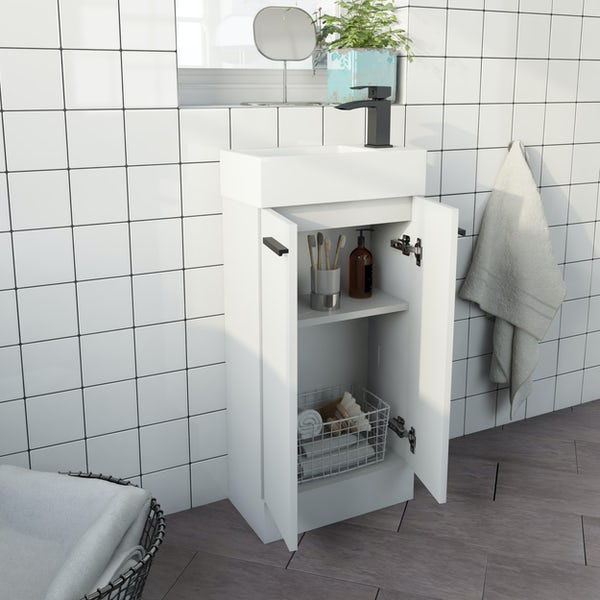 Clarity Compact white floorstanding vanity unit and basin 410mm with tap and black handles