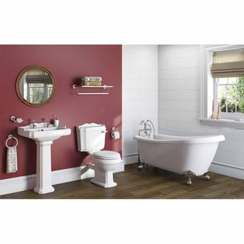 The Bath Co. Winchester bathroom suite with roll top bath and taps