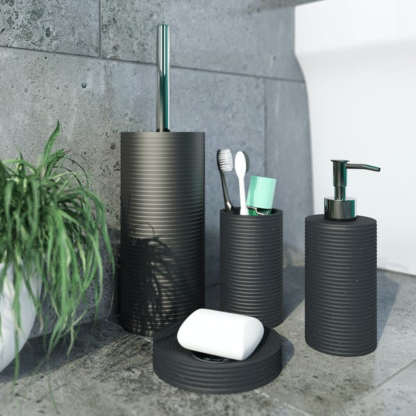 Accents black toilet brush holder