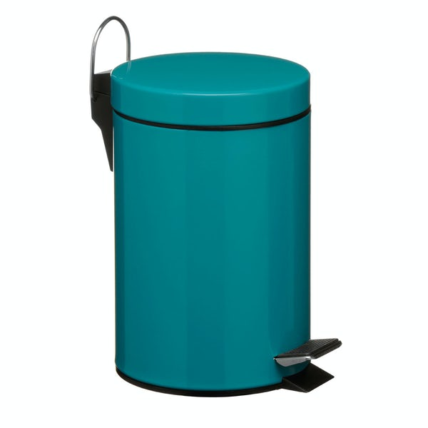Turquoise round 3 litre bathroom pedal bin