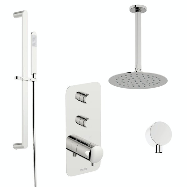 Mode Foster thermostatic push button shower set with ceiling arm and slider kit