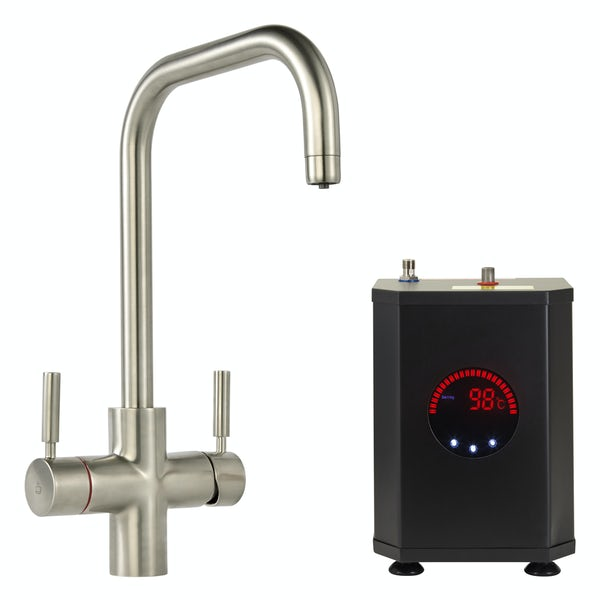 Tuscan Bollente U spout brushed nickel 3 in 1 boiling hot water tap