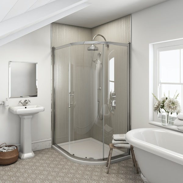 Multipanel Heritage Sarum Twill unlipped shower wall panel 2400 x 1200
