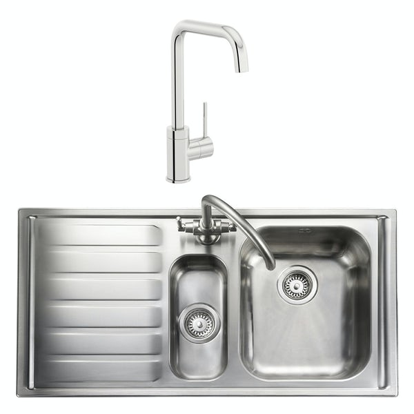 Rangemaster Manhattan 1.5 bowl left handed kitchen sink with waste kit and Schon L spout tap