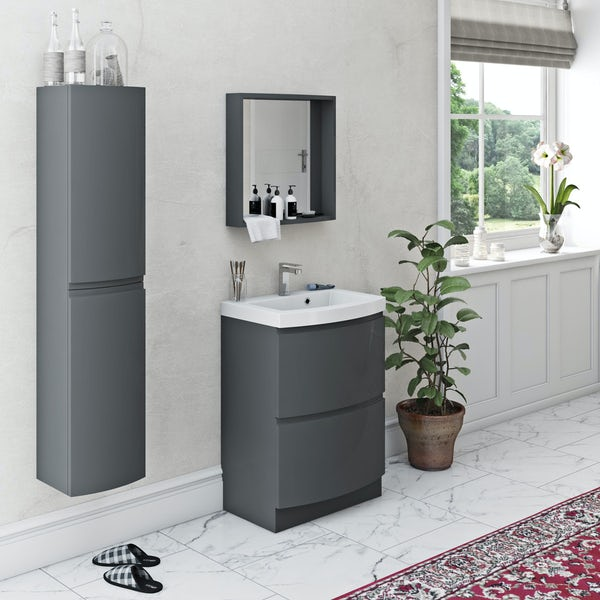 Mode Harrison slate gloss grey furniture package with floorstanding vanity drawer unit 600mm