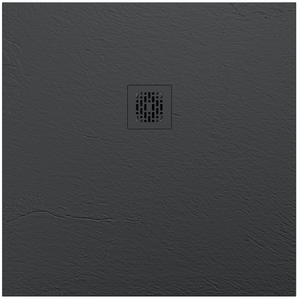 Mode slate effect black square shower tray 900 x 900 with colour matched waste cover