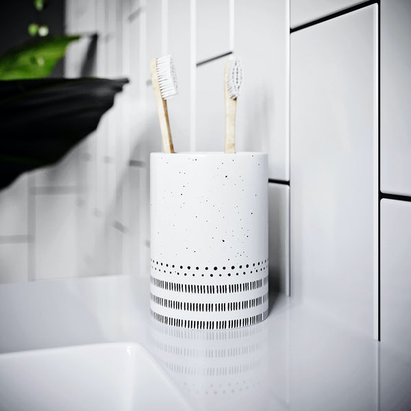 Accents ceramic white patterned tumbler