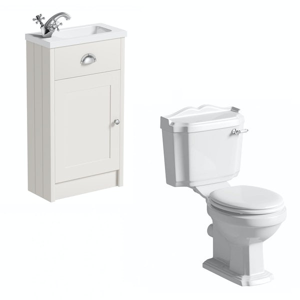 The Bath Co. Dulwich stone ivory cloakroom unit with traditional close coupled toilet and white seat