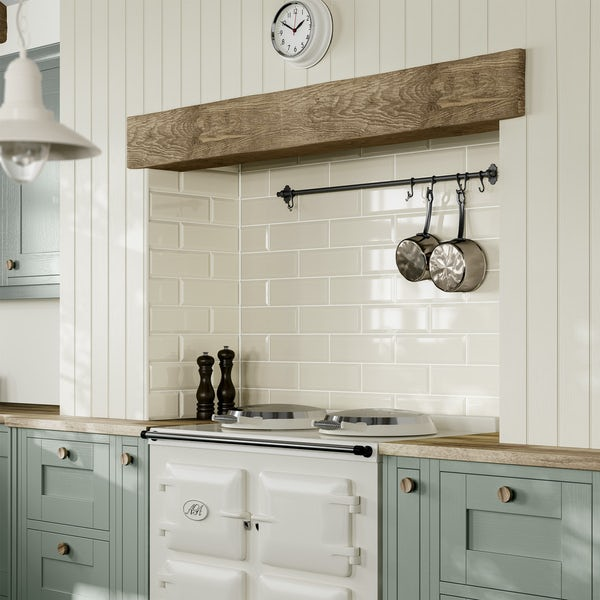 Maxi Metro ivory bevelled gloss wall tile 100mm x 300mm